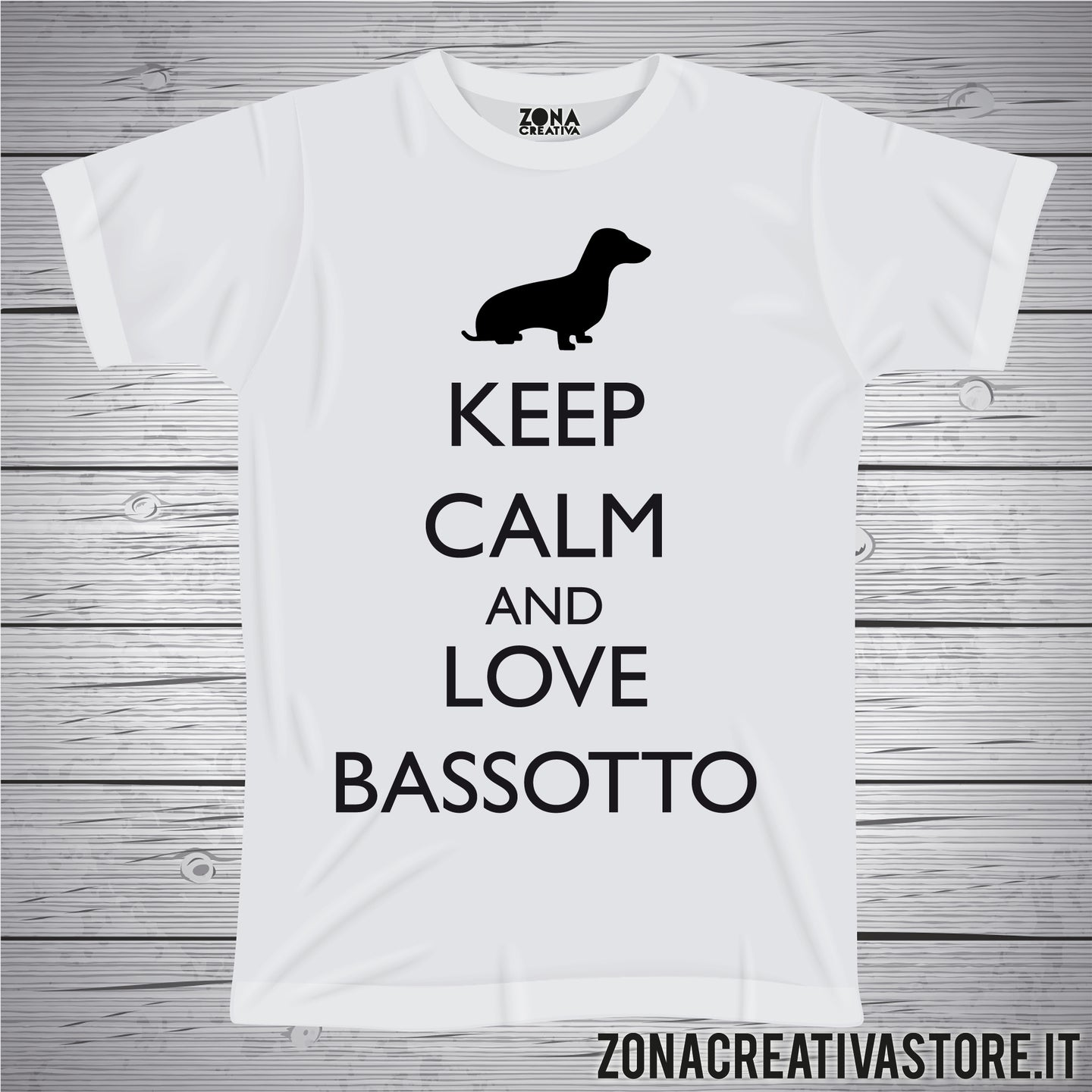 T-shirt KEEP CALM AND LOVE BASSOTTO