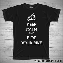 Carica l'immagine nel visualizzatore di Gallery, T-shirt KEEP CALM AND RIDE YOUR BIKE