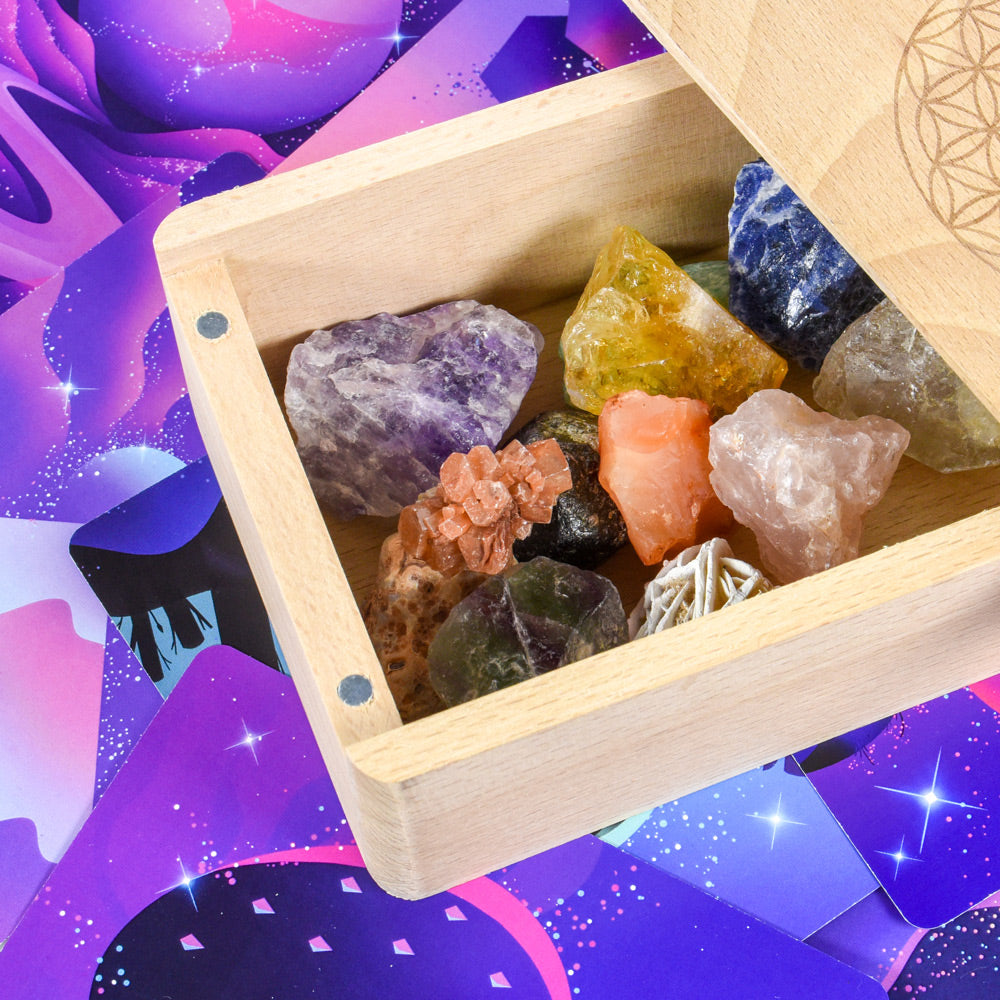 Moon cards and gemstone keepsake box