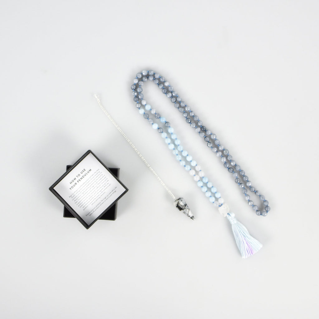 Mala Bead and Moonstone Pendulum Intention Pack