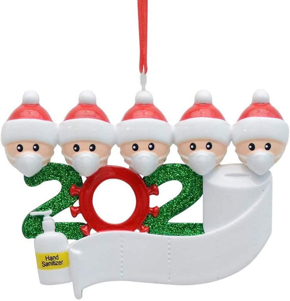 Pack of 5: Santa Family Christmas Party Facemask Ornament 2020