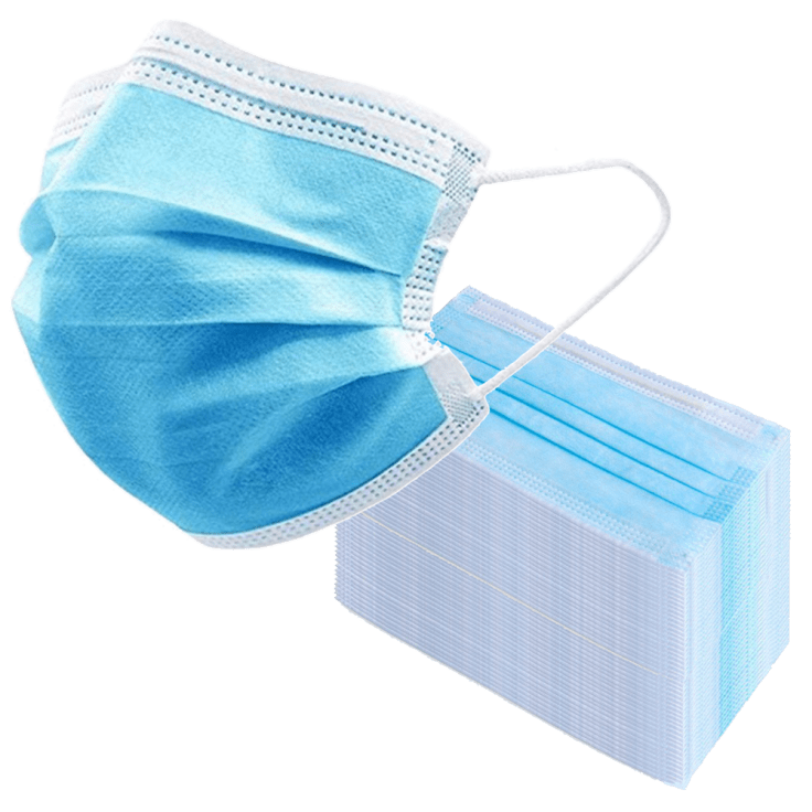 50 PACK: 3-Ply Disposable Face Masks