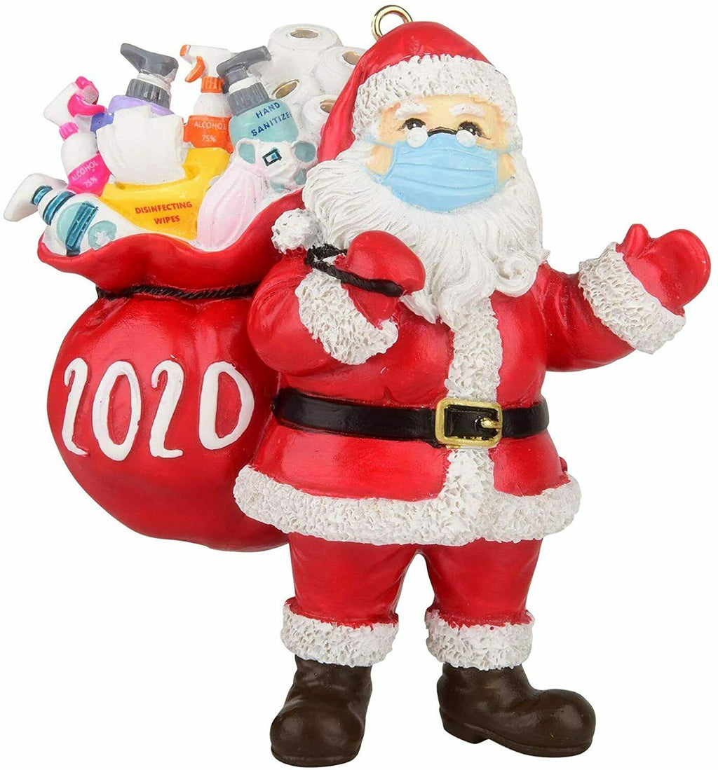 Santa Claus Mask Delivering Hand Sanitizer & Toilet Paper - 2020 Christmas Ornament