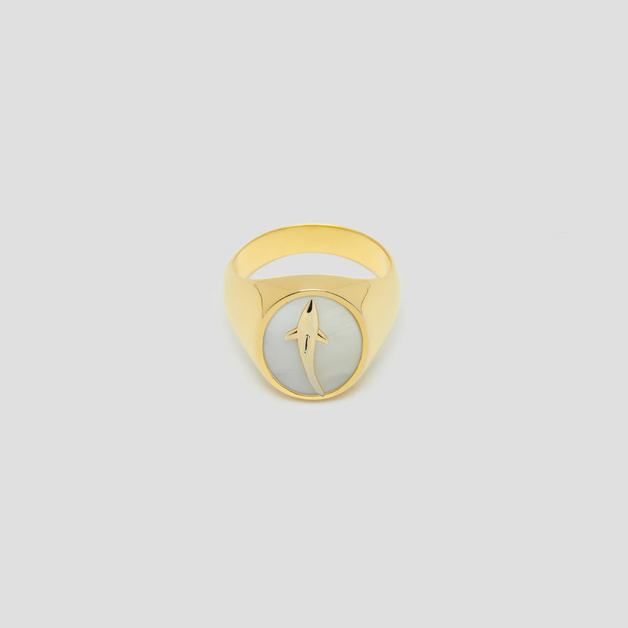 Shark Oval in 14k Yellow Gold with Mother Pearl