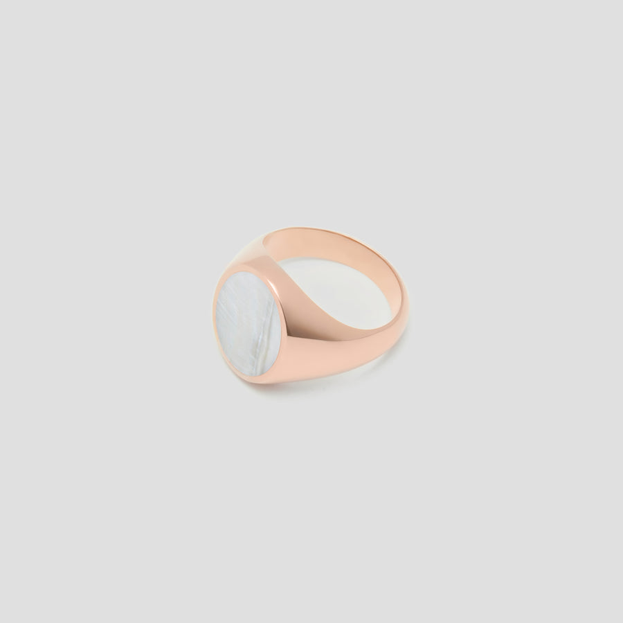 Oval in 14k Rose Gold with Mother Pearl