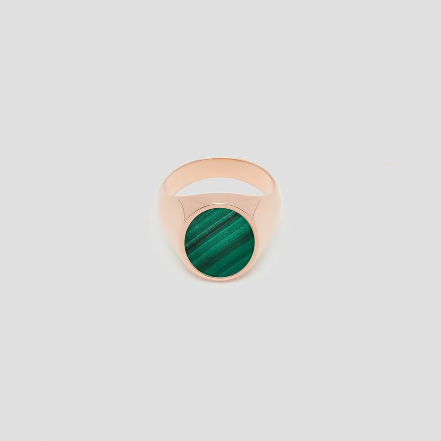 Oval in 14k Rose Gold with Malachite