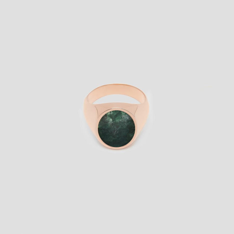 Oval in 14k Rose Gold with Green Marble