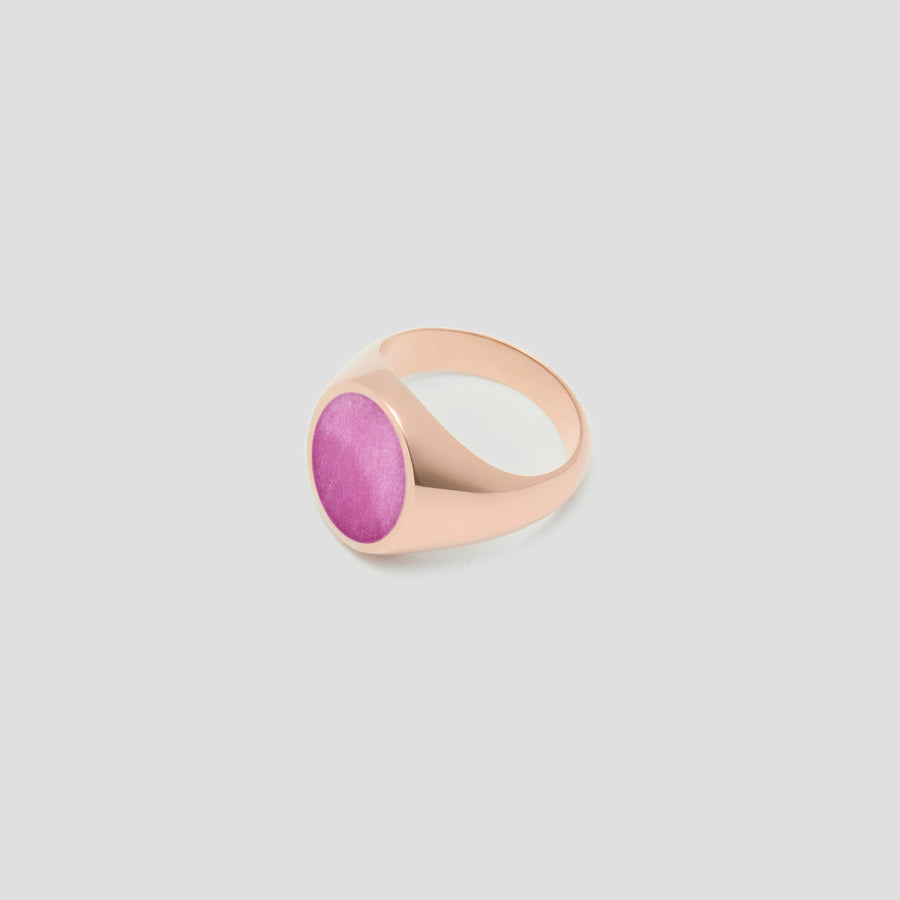 Oval in 14k Rose Gold with Pink Jasper