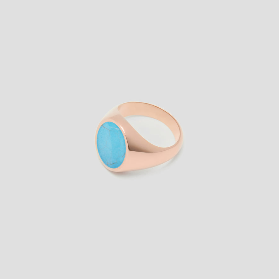 Oval in 14k Rose Gold with Turquoise