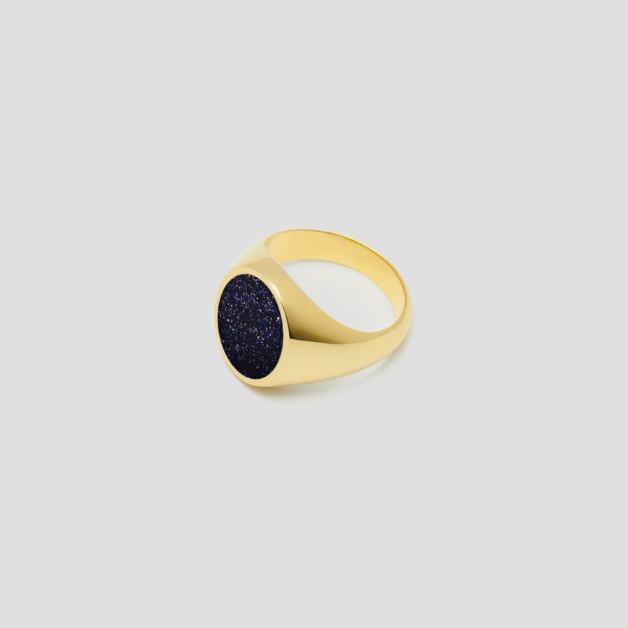 Oval in 14k Yellow Gold with Universe Stone