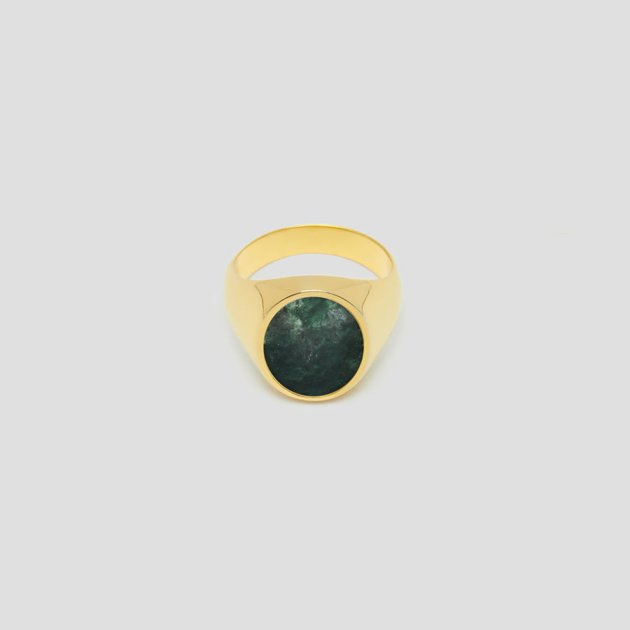 Oval in 14k Yellow Gold with Green Marble