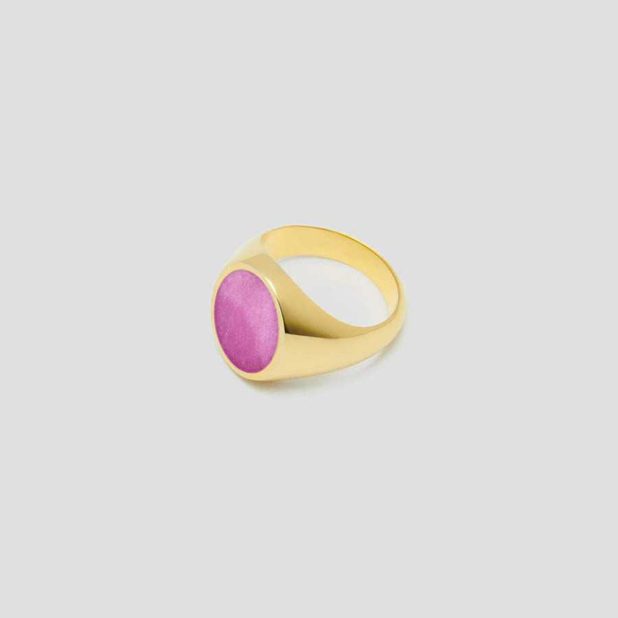 Oval in 14k Yellow Gold with Pink Jasper