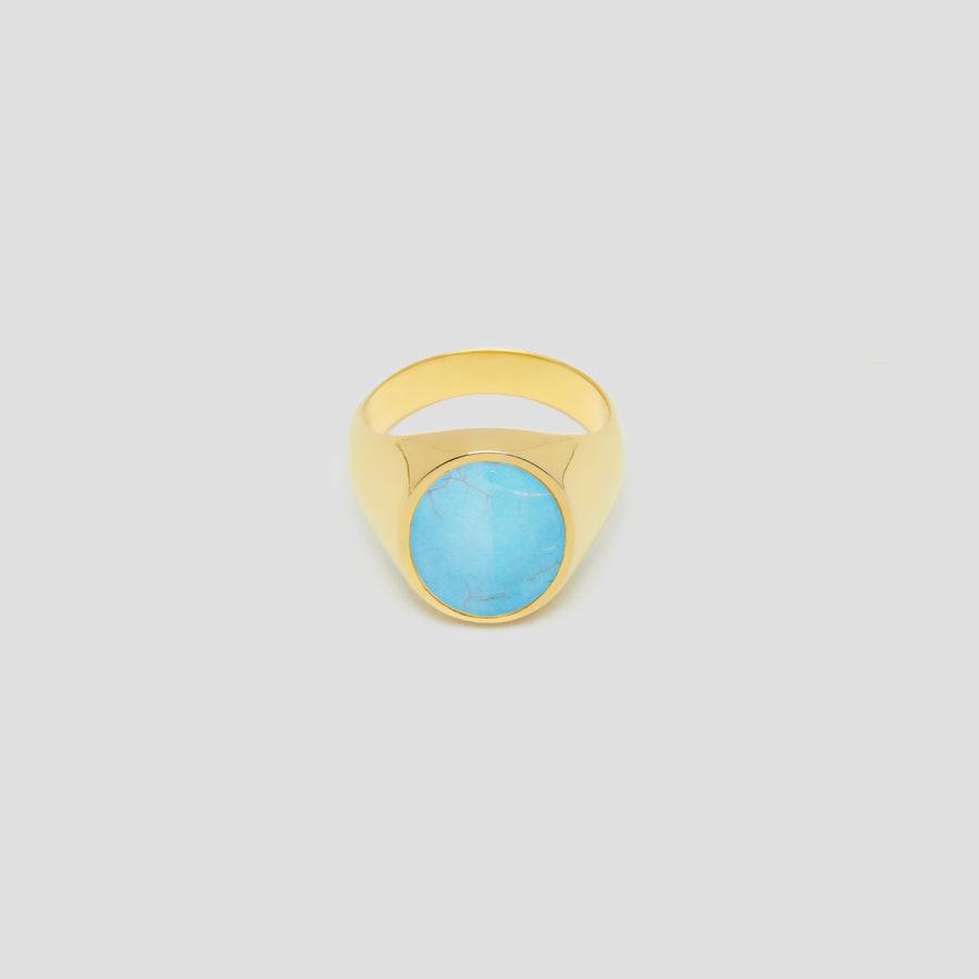 Oval in 14k Yellow Gold with Turquoise