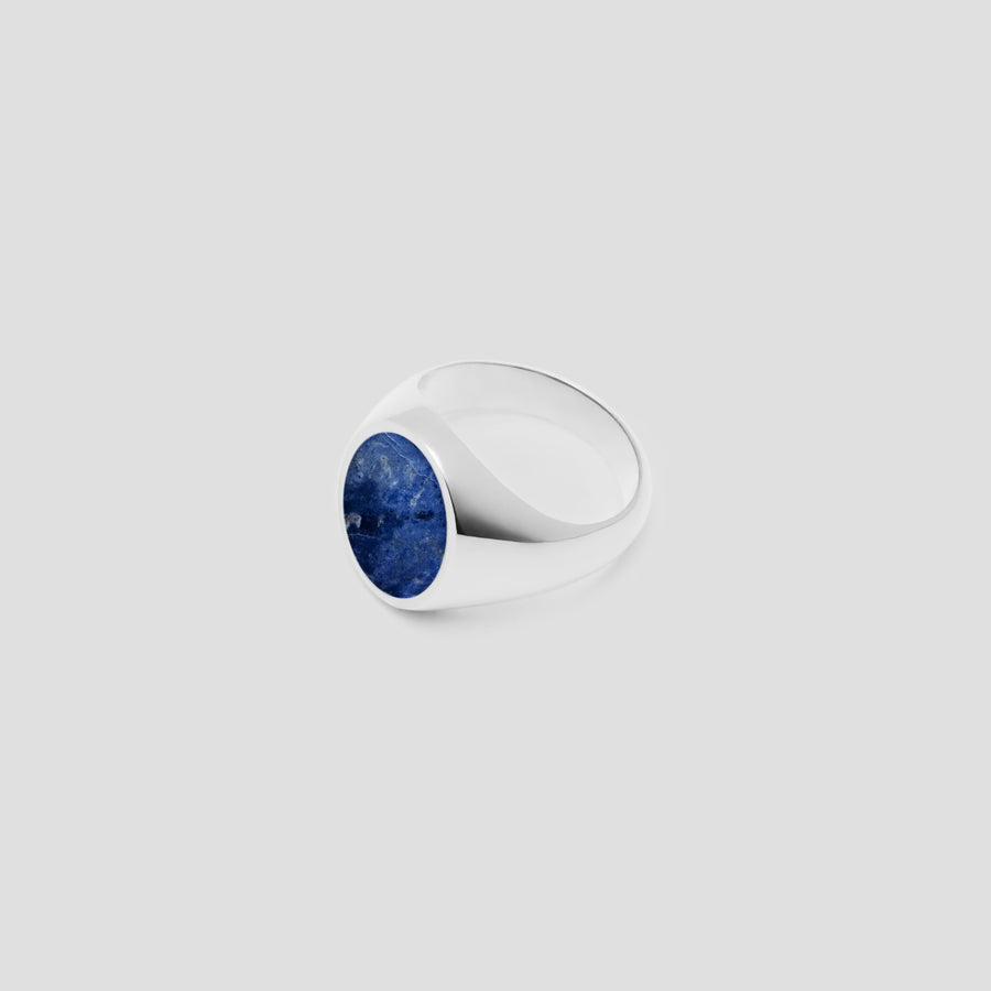 Oval in Silver with Lapis