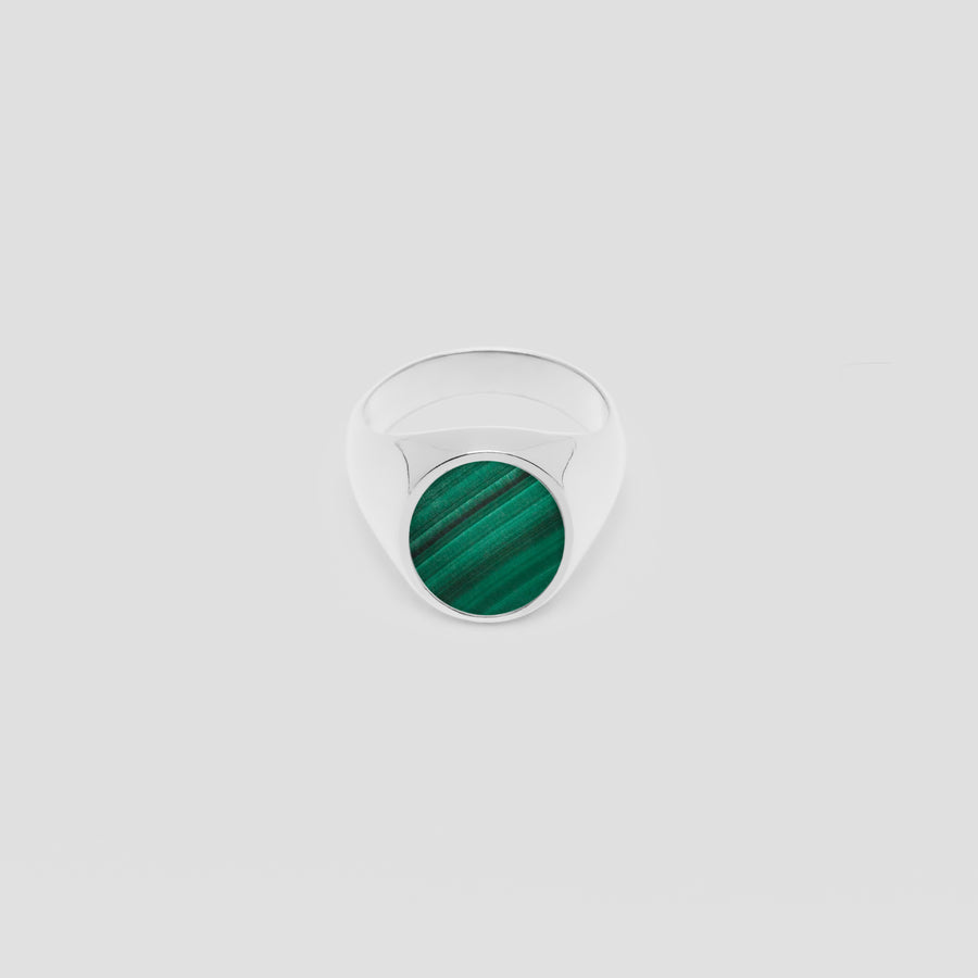 Oval in Silver with Malachite