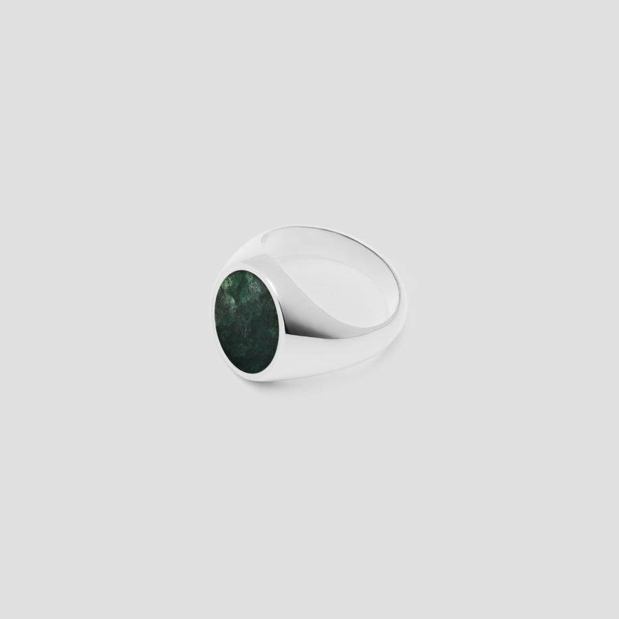 Oval in Silver with Green Marble