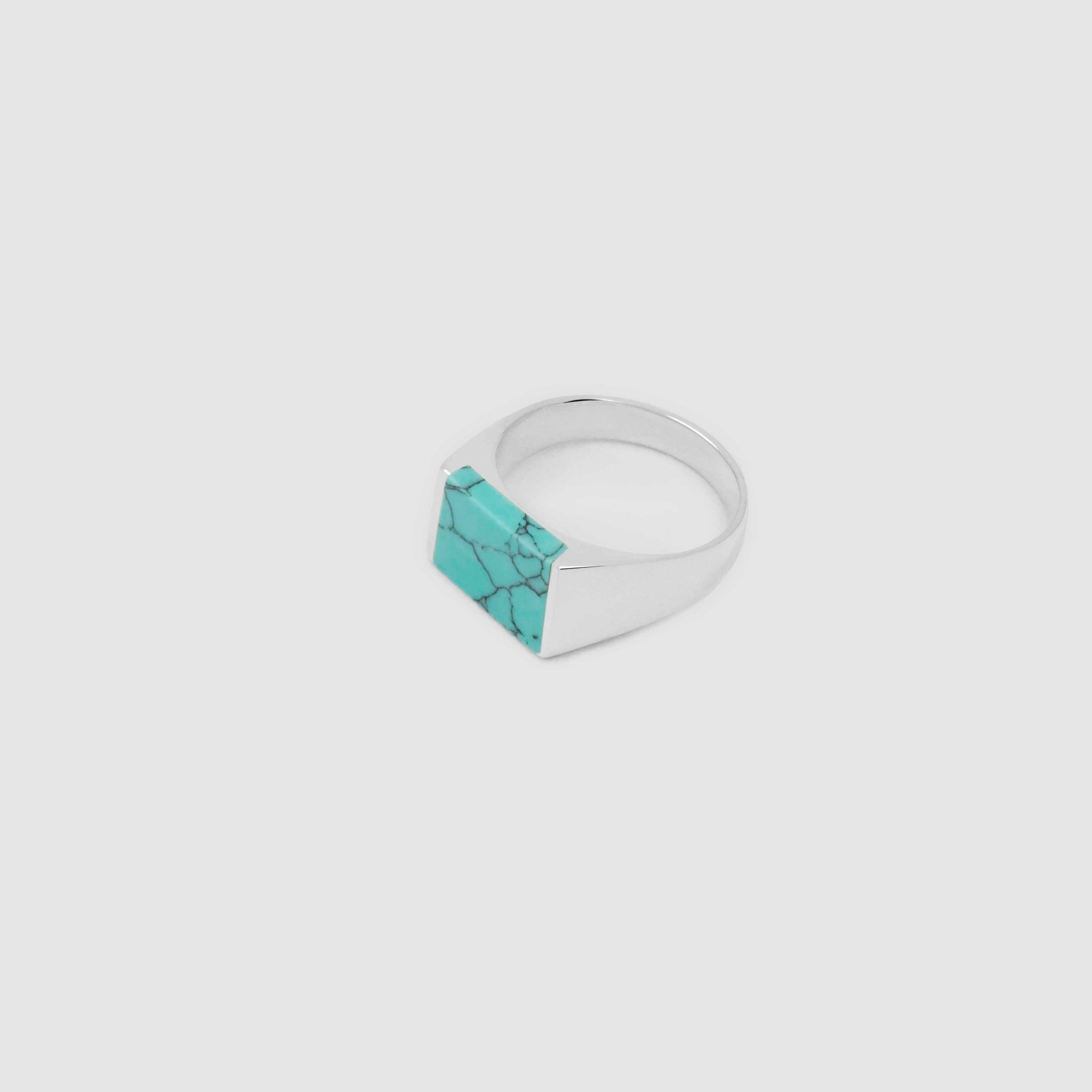Silver Rectangle Turquoise