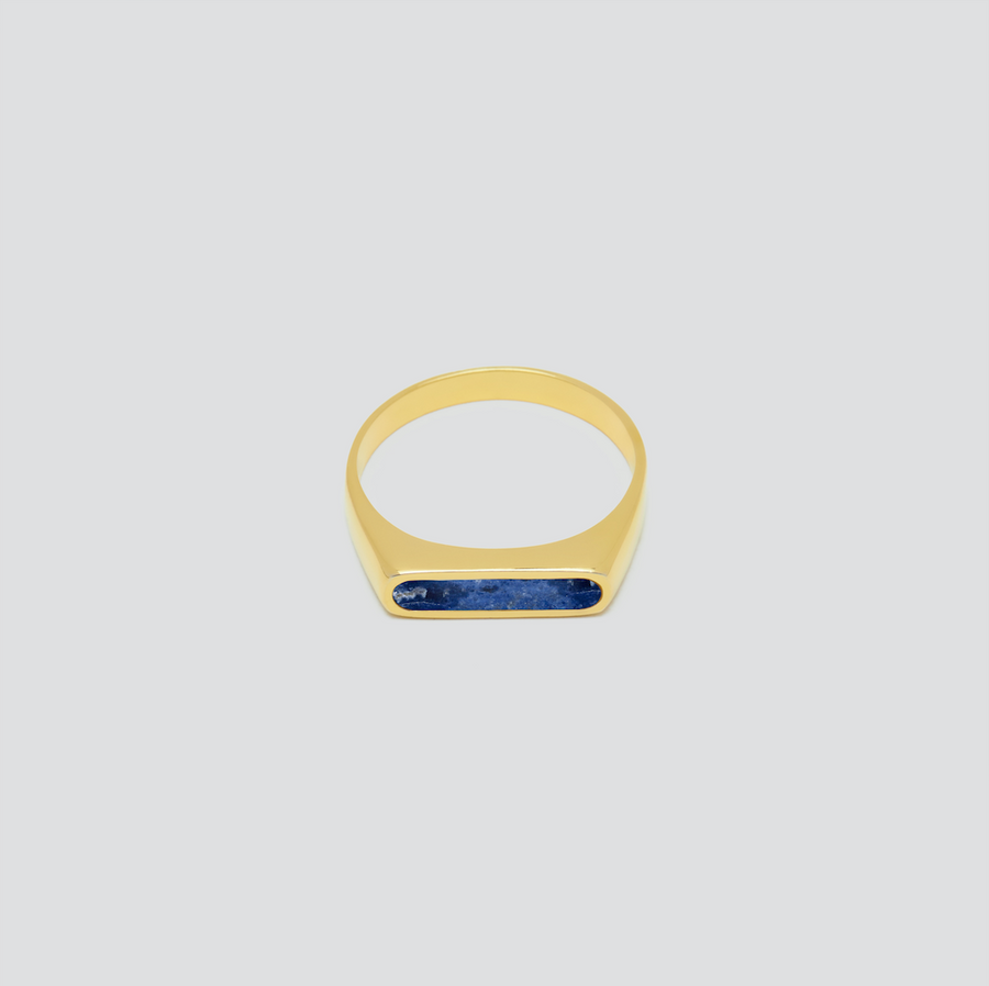 Minimal Band in 14k Yellow Gold with Lapis