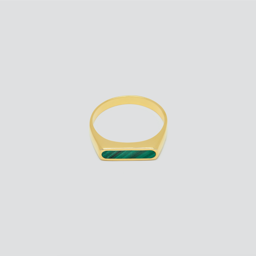 Minimal Band in 14k Yellow Gold with Malachite