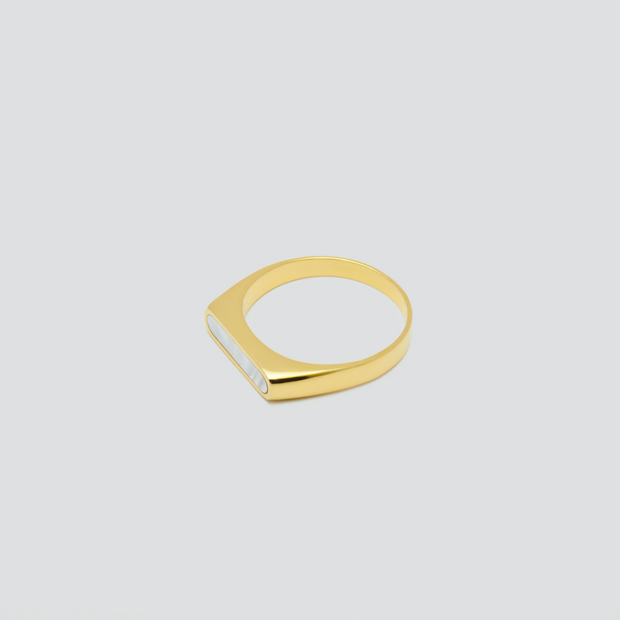 Minimal Band in 14k Yellow Gold with Mother Pearl