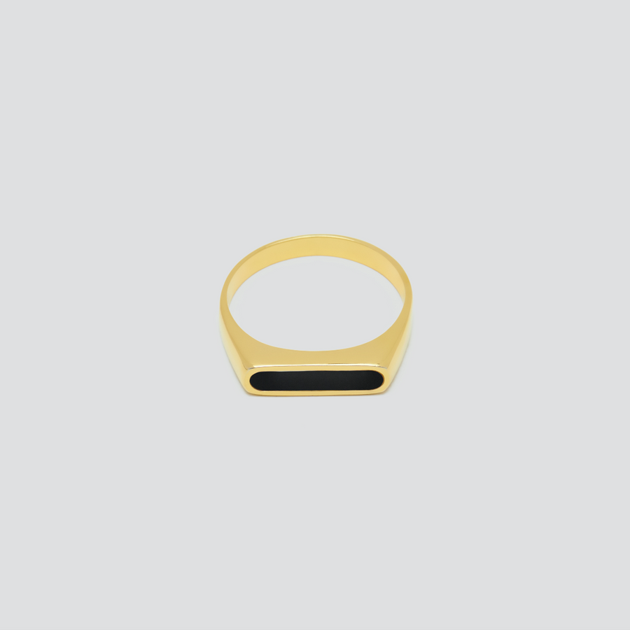 Minimal Band in 14k Yellow Gold with Onyx
