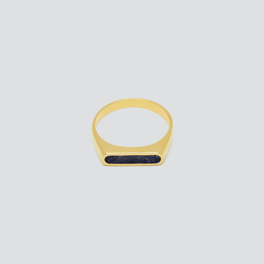 Minimal Band in 14k Yellow Gold with Universe Stone