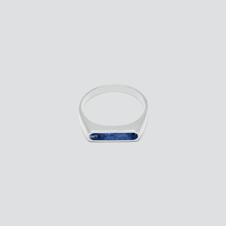 Minimal Band in Silver with Lapis
