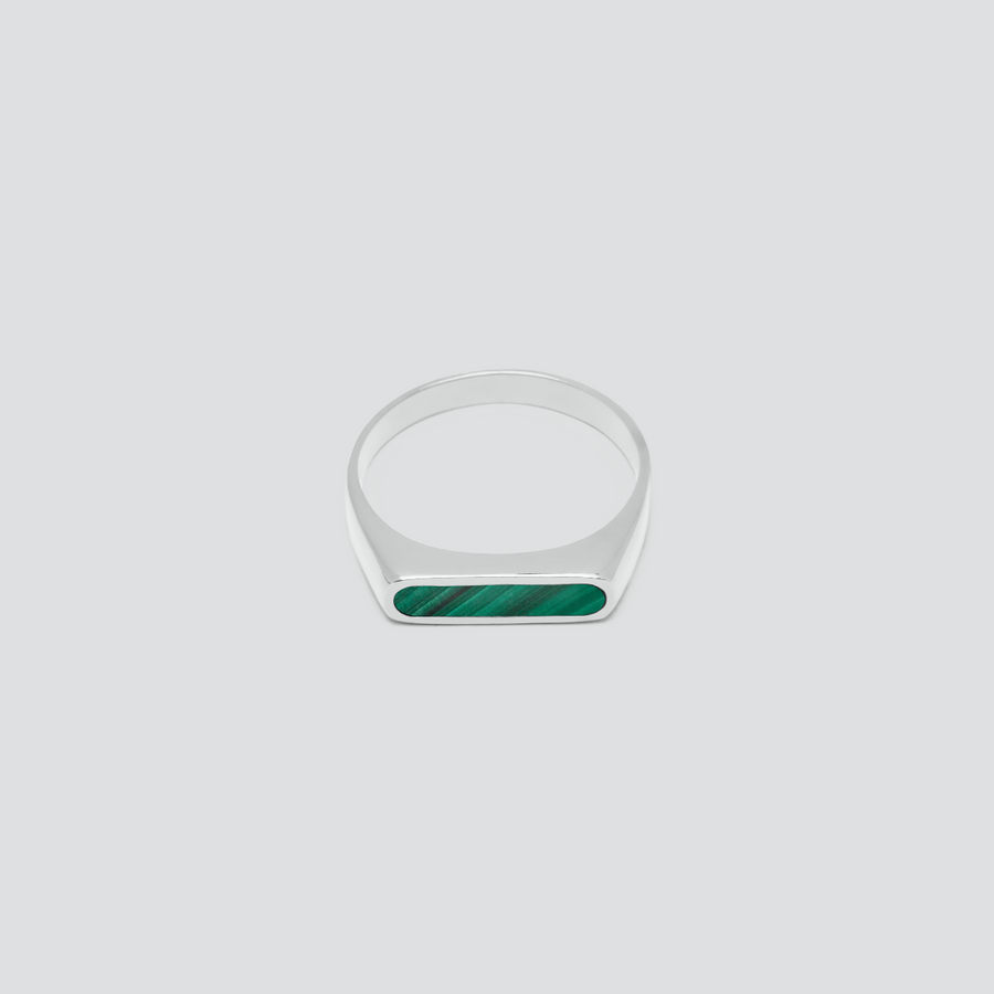 Minimal Band in Silver with Malachite