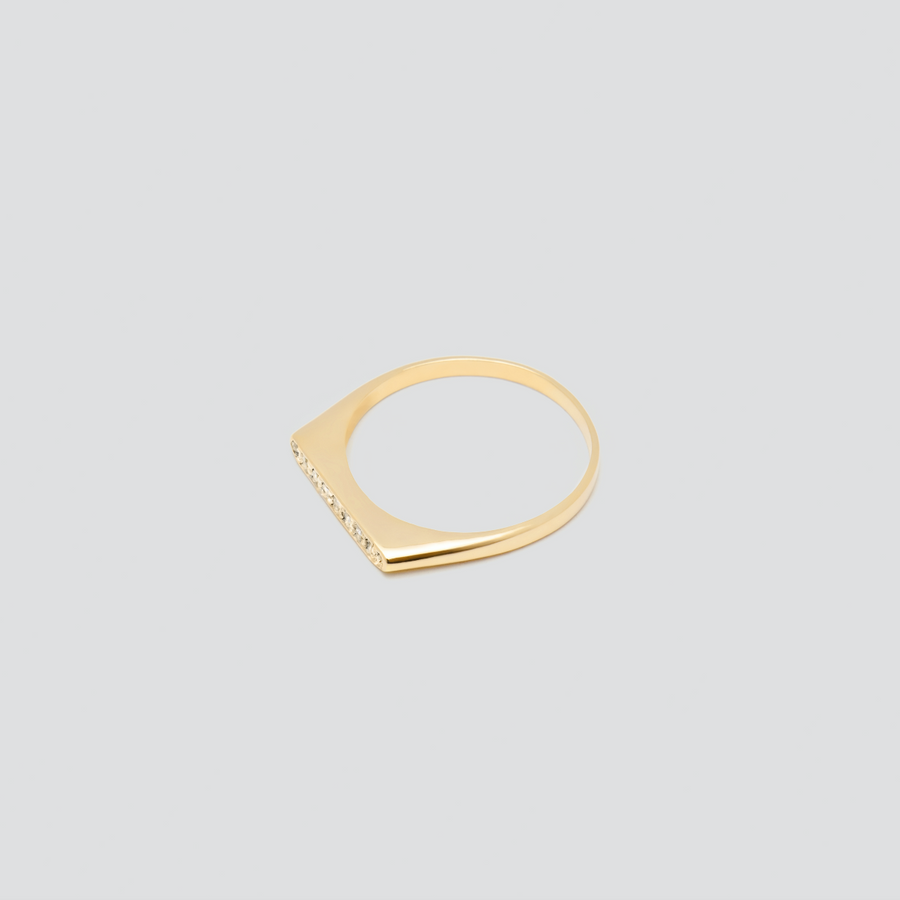 Minimal Band with White Diamonds in 14k Yellow Gold