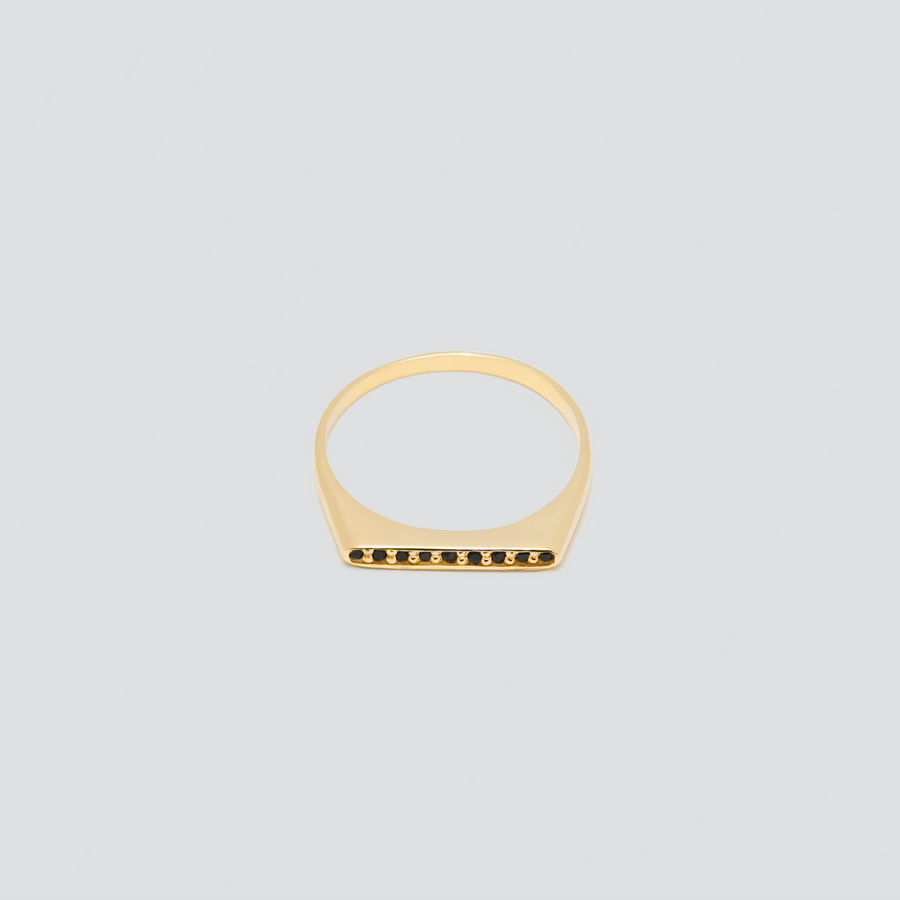 Minimal Band with Black Diamonds in 14k Yellow Gold