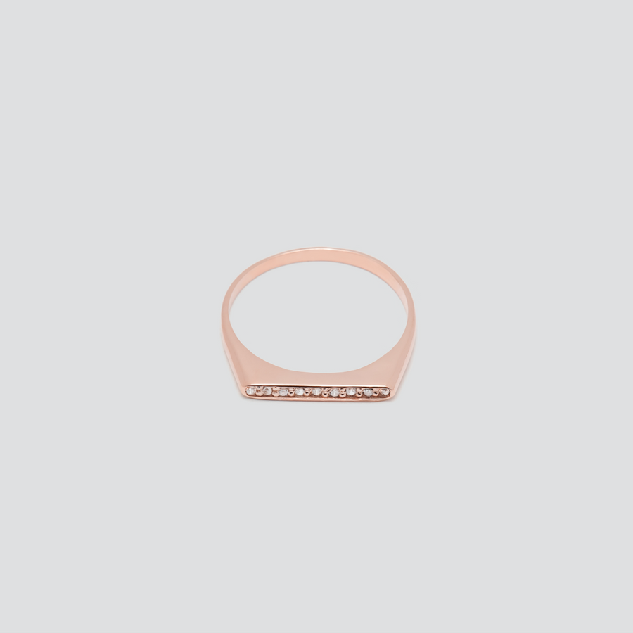 Minimal Band with White Diamonds in 14k Rose Gold