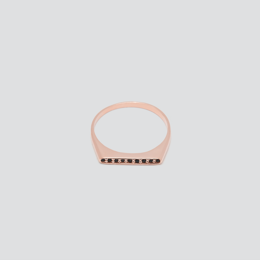 Minimal Band with Black Diamonds in 14k Rose Gold