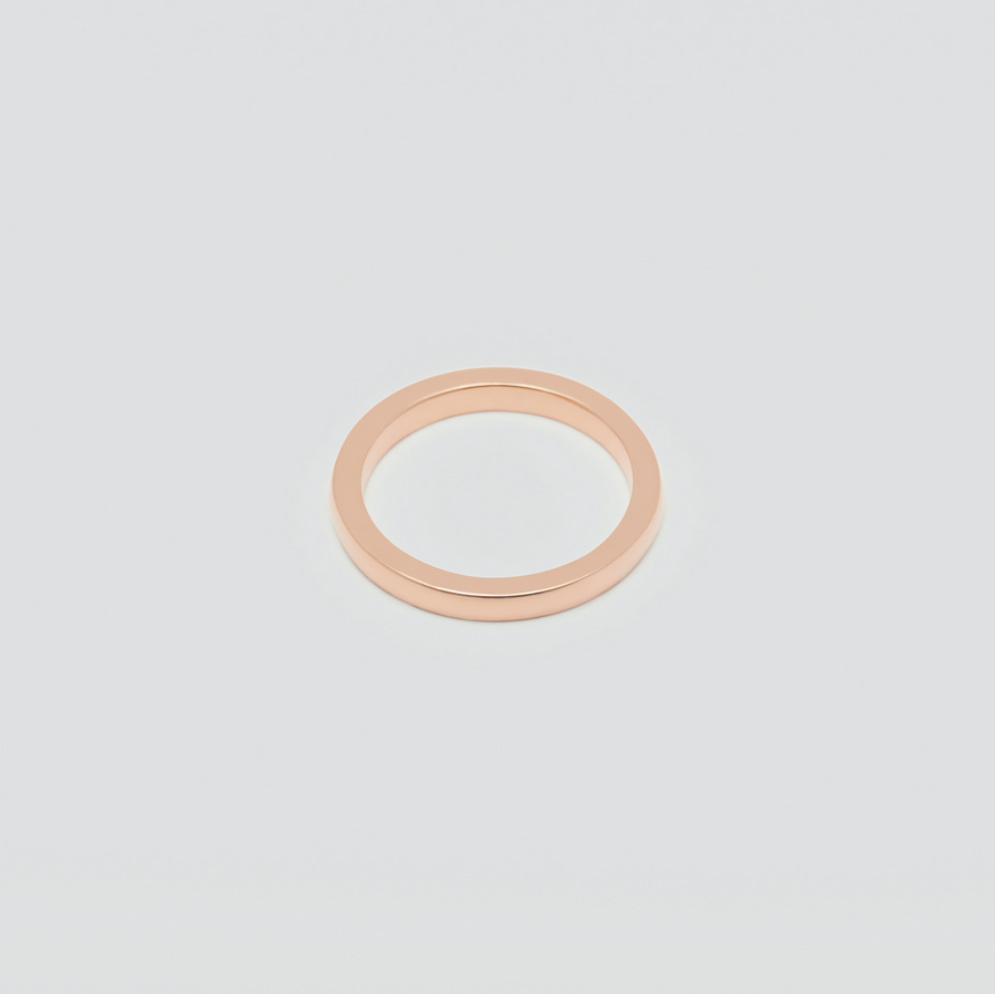 Mens Fine Wedding Band - Rectangular in 14k Rose Gold