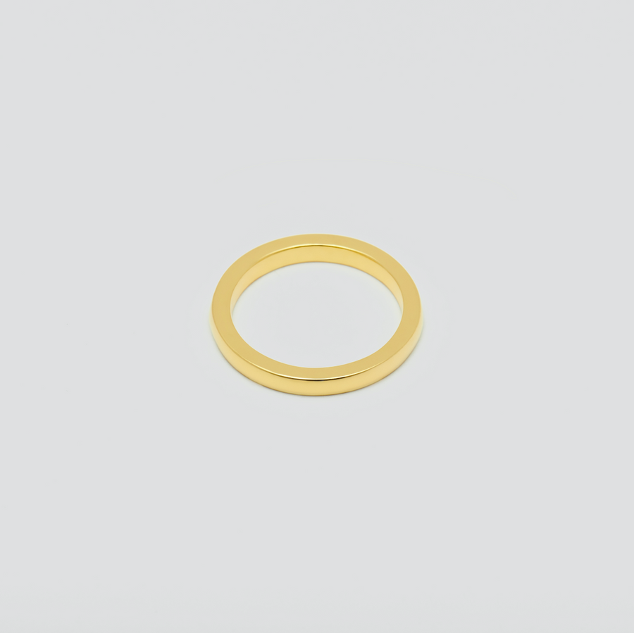 Mens Fine Wedding Band - Rectangular in 14k Yellow Gold