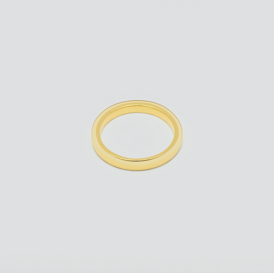 Mens Fine Wedding Band - Rounded in 14k Yellow Gold