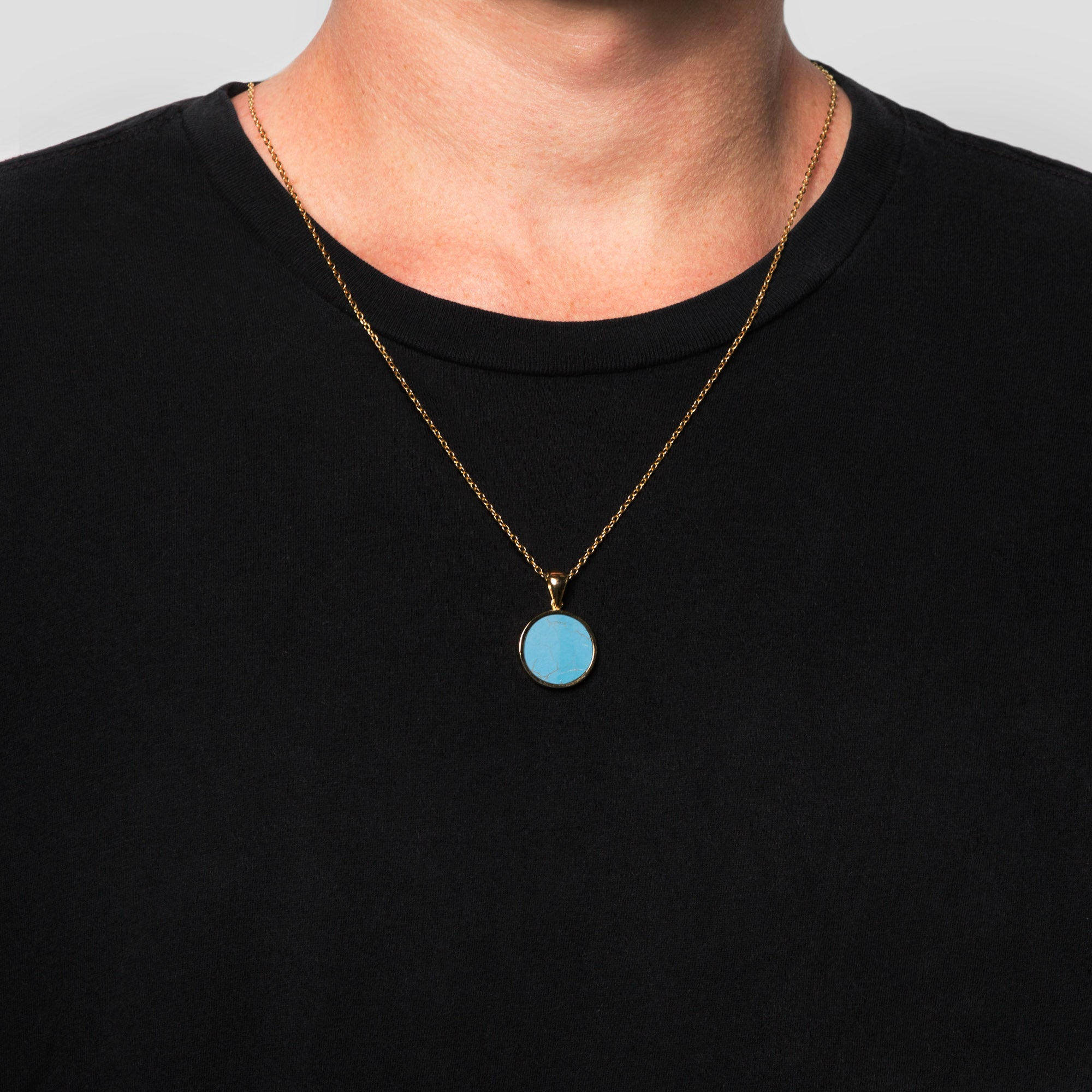 Gold Disc Turquoise Pendant