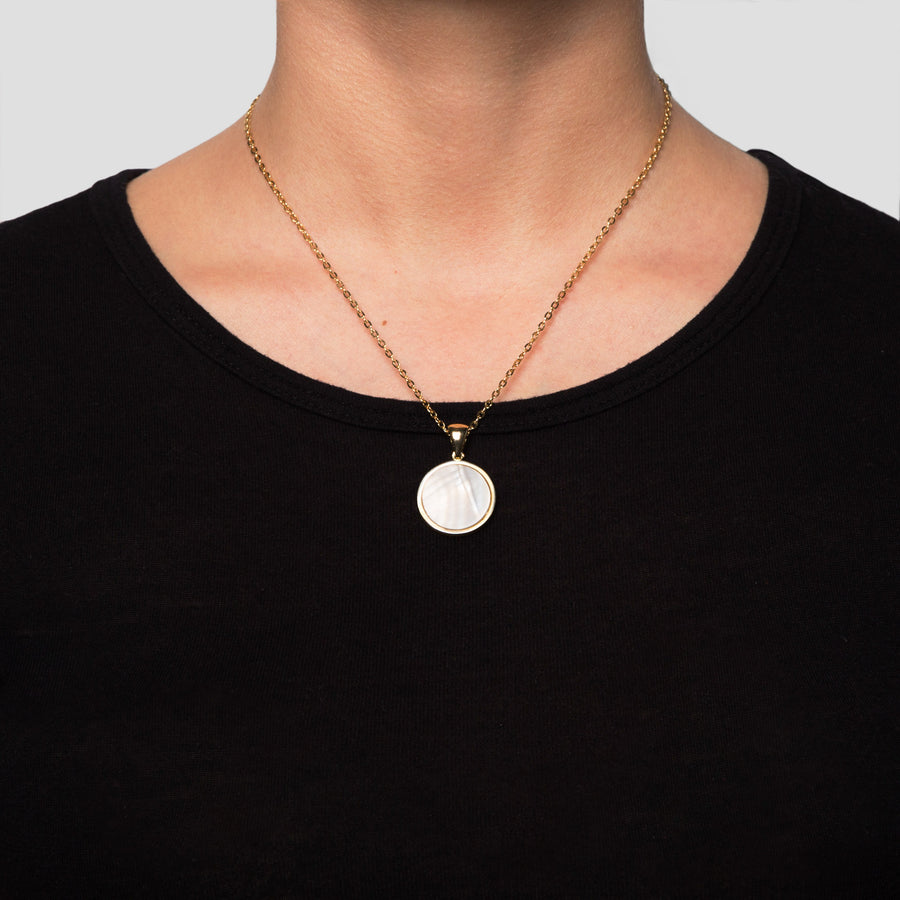Gold Disc Mother Pearl Pendant