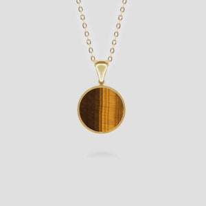 Gold Disc Tiger Eye Pendant