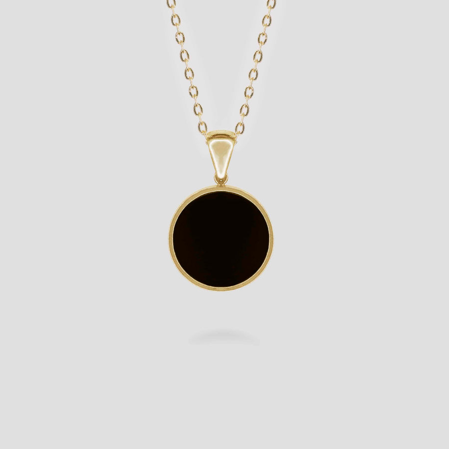 Gold Disc Onyx Pendant