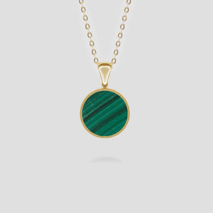 Gold Disc Malachite Pendant