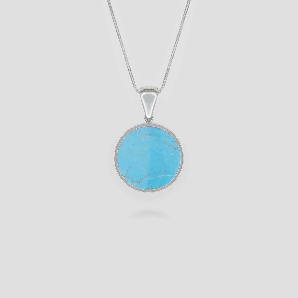 Silver Disc Turquoise Pendant