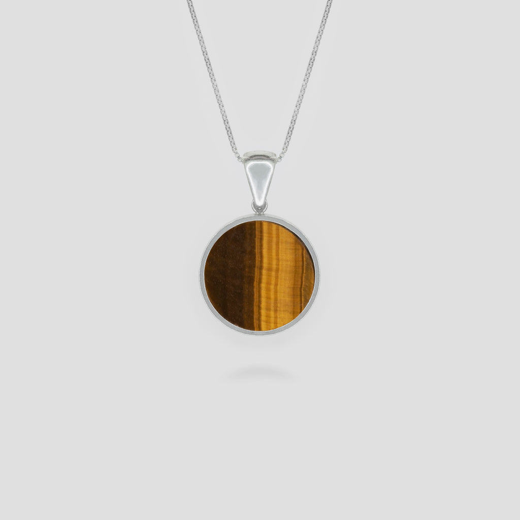Silver Disc Tiger Eye Pendant