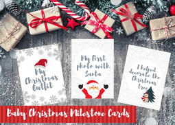 BABY'S FIRST CHRISTMAS MILESTONE CARDS - BLUE