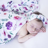 Peony Bloom Baby Jersery Wrap & Topknot Set