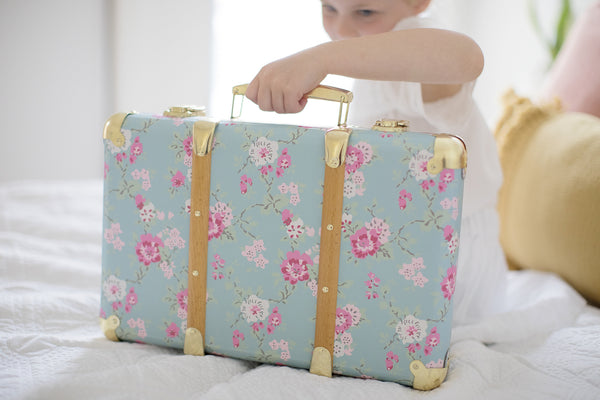 Alimrose Vintage Style Carry Case - Aqua Cottage Rose
