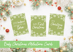 BABY'S FIRST CHRISTMAS MILESTONE CARDS - Green