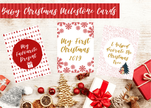 BABY'S FIRST CHRISTMAS MILESTONE CARDS - RED