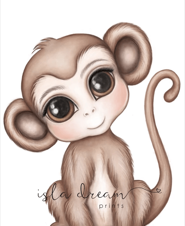 Abu The Monkey - Jungle Theme Art Print - Petit Luxe Bebe