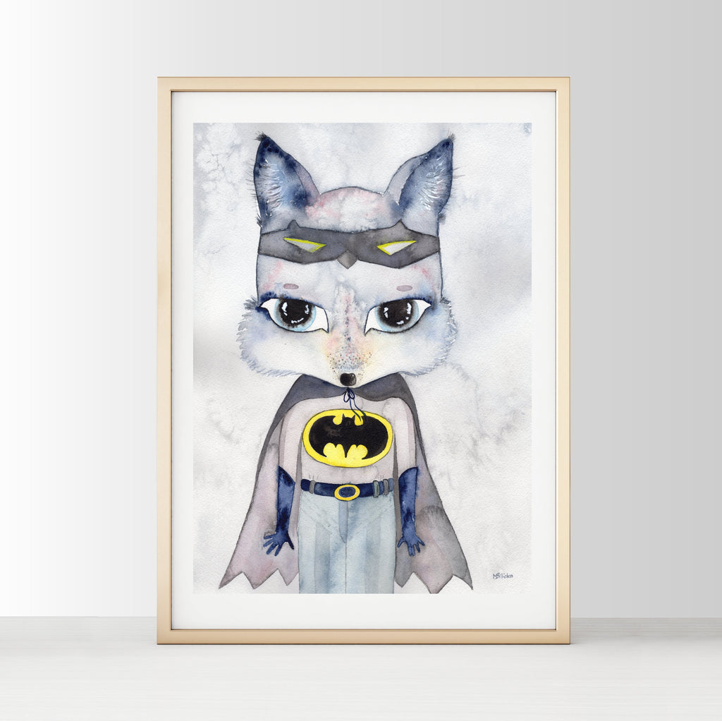 Nursery Decor Wall Art Print - Mr Alex...Superhero Wolf - Petit Luxe Bebe