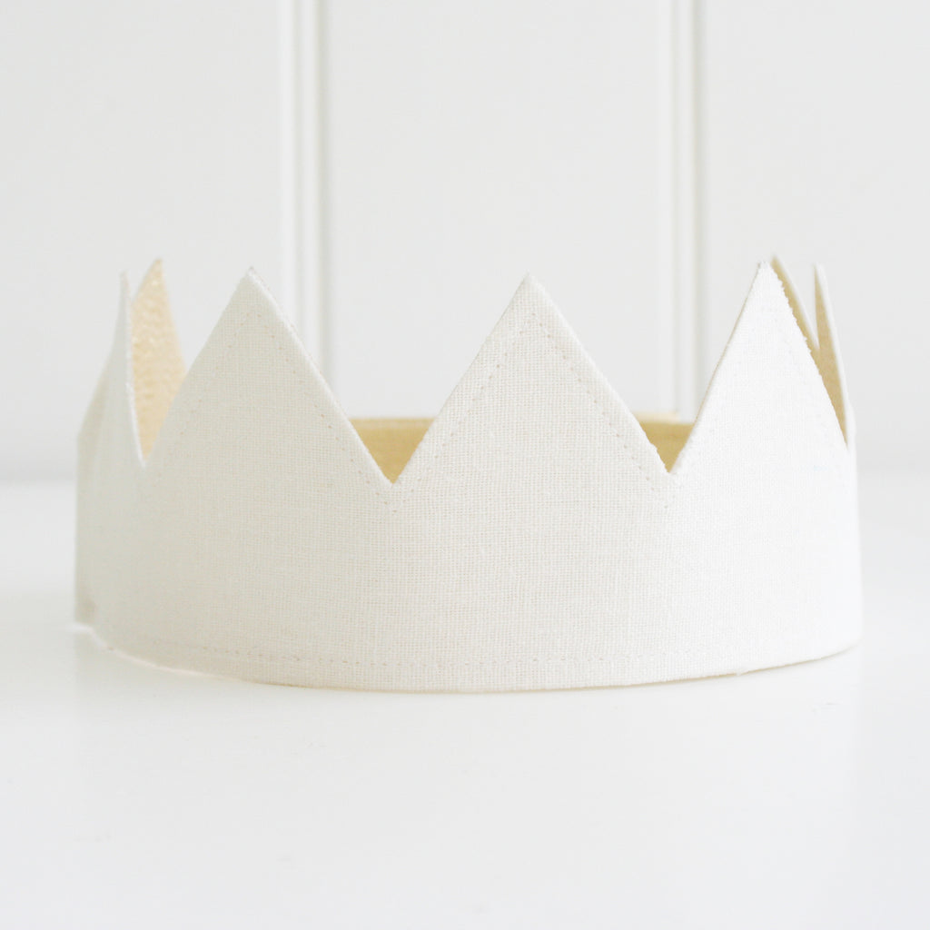 Alimrose Fabric Crown - Ivory & Gold - Petit Luxe Bebe